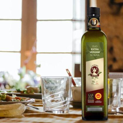 LACRIMA-Bottiglia-olio Cartoceto DOP